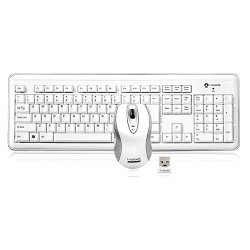 Buslink Media - RF-6572L-WH - I-Rocks RF-6572L-WH Wireless Keyboard and Laser Mouse - Keyboard - Wireless - 104 Keys - USB - Mouse - Wireless - Laser - USB