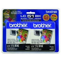 Brother International - LC51BK2PKS - Brother Black Ink Cartridge - Inkjet - 500 Page - Black - 2 Pack