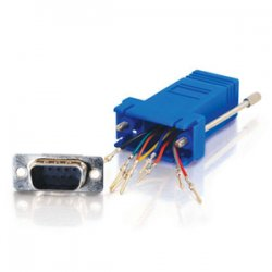 C2G (Cables To Go) - 02946 - C2G RJ45 to DB9 Male Modular Adapter - Blue - 1 x RJ-45 Serial - 1 x DB-9 Male Serial - Blue