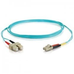 C2G (Cables To Go) - 33051 - 1m LC-SC 10Gb 50/125 OM3 Duplex Multimode PVC Fiber Optic Cable - Aqua - Fiber Optic for Network Device - LC Male - SC Male - 10Gb - 50/125 - Duplex Multimode - OM3 - 10GBase-SR, 10GBase-LRM - 1m - Aqua