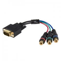 StarTech - HD15CPNTMF - StarTech.com 6in HD15 to Component RCA Breakout Cable Adapter - M/F - HD-15 Male VGA