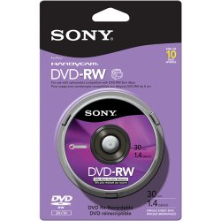 Sony - 10DMW30RS2H - Sony 10DMW30RS2H DVD Rewritable Media - DVD-RW - 2x - 1.40 GB - 10 Pack Spindle - 80mm Mini - 30 Minute Maximum Recording Time