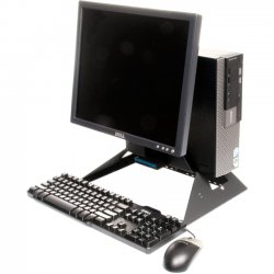 "Rack Solution - 114-0922 - Rack Solutions All-In-One 114-0922 Computer Stand - 17.9"" Height x 15.1"" Width x 10.1"" Depth - Powder Coated - Black"