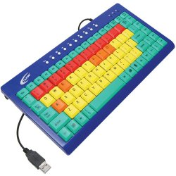 Ergoguys - KB1 - Califone Kids Computer Keyboard USB Color Coded Keys via Ergoguys - Cable Connectivity - USB Interface - 85 Key - Compatible with Computer (PC) - Volume Control, Home, My Favorites, Next Track, Previous Track, Standby, Email, Play Hot