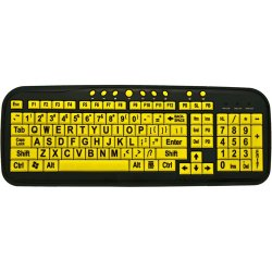 Ergoguys - CD-1038 - DataCal Ezsee Low Vision Keyboard Large Print Yellow Keys - Cable Connectivity - USB Interface - English - Multimedia Hot Key(s)