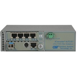Omnitron - 8823N-1-B - iConverter MUX/M Ethernet + 4xT1/E1 Fiber Multiplexer SC Single-Mode 12km - 4 x T1/E1 (RJ-48) + 1 x 10/100/1000BASE-T to 1 x SC Single-Mode, Univ. AC Powered, Lifetime Warranty