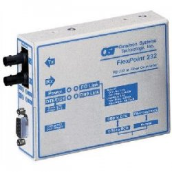 Omnitron - 4484-1 - FlexPoint RS-232 Serial Fiber Media Converter DB-9 SC Single-mode 30km - 1 x RS-232; 1 x SC Single-mode; US AC Powered; Lifetime Warranty