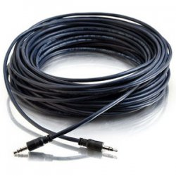 C2G (Cables To Go) - 40517 - C2G 35ft Plenum-Rated 3.5mm Stereo Audio Cable with Low Profile Connectors - Mini-phone Male Stereo Audio - Mini-phone Male Stereo Audio - 35ft - Black