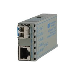 Omnitron - 1220-0-9 - miConverter 10/100/1000 Gigabit Ethernet Fiber Media Converter RJ45 ST Multimode 550m - 1 x 10/100/1000BASE-T; 1 x 1000BASE-SX; DC Powered; Lifetime Warranty