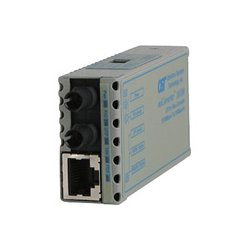 Omnitron - 1120-0-1 - miConverter 10/100 Plus Ethernet Fiber Media Converter RJ45 ST Multimode 5km - 1 x 10/100BASE-TX, 1 x 100BASE-FX, US AC Powered, Lifetime Warranty