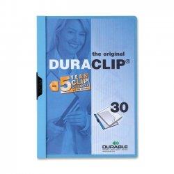 Durable - 2203BE - Durable DURACLIP Report Cover - Letter - 8 1/2 x 11 Sheet Size - 30 Sheet Capacity - Vinyl - Blue, Clear - 1.44 lb - 1 Each