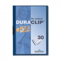 Durable - 2203DB - Durable DURACLIP Report Cover - Letter - 8 1/2 x 11 Sheet Size - 30 Sheet Capacity - Vinyl - Dark Blue, Clear - 1.44 lb - 1 Each