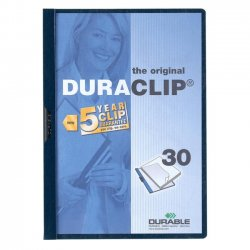Durable - 2203-NB - Durable DURACLIP Report Cover - Letter - 8.5 x 11 - 30 Sheet - 1 Each - Navy Blue, Clear
