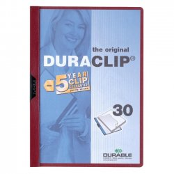 Durable - 2203MN - Durable DURACLIP Report Cover - Letter - 8.5 x 11 - 30 Sheet - 1 Each - Maroon, Clear
