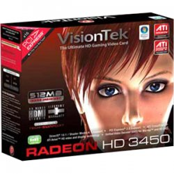 VisionTek - 900321 - Visiontek 900321 Radeon 3450 Graphic Card - 512 MB DDR2 SDRAM - PCI - Low-profile - DirectX 10.1, OpenGL 2.0 - 1 x Total Number of DVI - PC - Dual Link DVI Supported