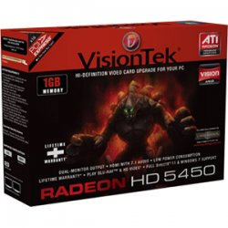 VisionTek - 900320 - Visiontek 900320 Radeon 5450 Graphic Card - 650 MHz Core - 1 GB DDR3 SDRAM - PCI Express 2.0 x16 - Low-profile - 1000 MHz Memory Clock - 64 bit Bus Width - 2560 x 1600 - DirectX 11.0 - 1 x DisplayPort - 1 x VGA - 1 x Total Number of