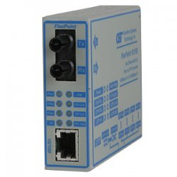 Omnitron - 4357-21 - FlexPoint 10/100 Ethernet Fiber Single-Fiber Media Converter RJ45 SC Single-Mode BiDi 20km - 1 x 10/100BASE-TX; 1 x 100BASE-BX-D; (1550/1310); US AC Powered; Lifetime Warranty
