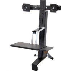 Ergotron - 33-341-200 - Ergotron WorkFit-S 33-341-200 Display Stand - 31 lb Load Capacity - Steel, Plastic, Aluminum - Black