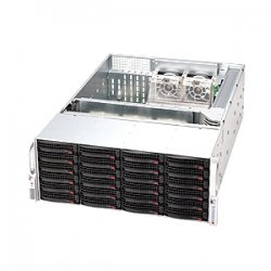 "Supermicro - CSE-846E16-R1200B - Supermicro SuperChassis 846E16-R1200B Rackmount Enclosure - Rack-mountable - Black - 4U - 24 x Bay - 5 x Fan(s) Installed - 2 x 1200 W - EATX, ATX Motherboard Supported - 75 lb - 24 x External 3.5"" Bay"