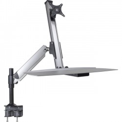 Doublesight - DS-ERGO-100 - DoubleSight Displays DS-ERGO-100 Ergonomic Sit/Stand Monitor Arm and Keyboard Tray Desk Mount up to 30 Monitor - 24 lb Support - 30 Screen Support - 24 lb Load Capacity
