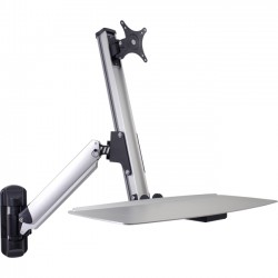 Doublesight - DS-ERGO-100WM - DoubleSight Displays DS-ERGO-100WM Ergonomic Sit/Stand Monitor Arm and Keyboard Tray Wall Mount up to 30 Monitor - 24 lb Support - 30 Screen Support - 24 lb Load Capacity