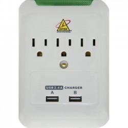 Ditek - DTK-3VWMUSB - DITEK DTK-3VWMUSB Power Strip - 3 x AC Power, 2 x USB - Wall Mountable