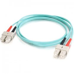 C2G (Cables To Go) - 21660 - C2G 1m SC-SC 10Gb 50/125 OM3 Duplex Multimode PVC Fiber Optic Cable (USA-Made) - Aqua - Fiber Optic for Network Device - SC Male - SC Male - 10Gb - 50/125 - Duplex Multimode - OM3 - 10GBase-SR, 10GBase-LRM - USA-Made - 1m -