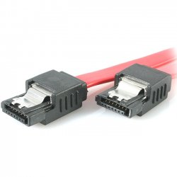 StarTech - LSATA8 - StarTech.com 8in Latching SATA to SATA Cable - F/F - Male SATA - Male SATA - 8 - Red