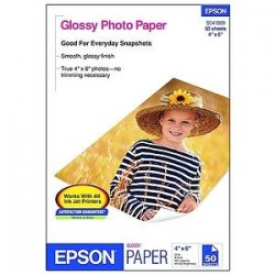 "Epson - S041809 - Epson S041809 Photo Paper - 4"" x 6"" - 196 g/m² Grammage - Glossy - 89 Brightness - 50 Sheet - White"