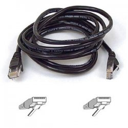 "Belkin / Linksys - A3L791-01-BLK-S - Belkin Cat5e Patch Cable - RJ-45 Male - RJ-45 Male - 12"" - Black"