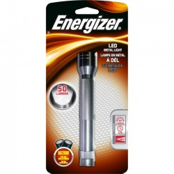 Energizer - ENML2AAS - Energizer LED Metal Flashlight with Batteries - AA - AluminumBody - Silver