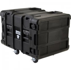 "SKB Cases - 3SKB-R908U24 - SKB 8U Roto Shock Rack - Internal Dimensions: 19"" Width x 28.50"" Depth x 14"" Height - External Dimensions: 27.5"" Width x 36.8"" Depth x 24.3"" Height - 27.64 gal - Latching Closure - Stackable - Polyethylene - Black - For Rack"