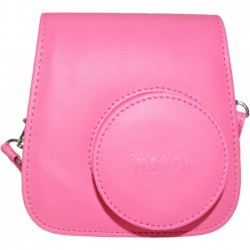 Fujifilm - 600018145 - Fujifilm Groovy Carrying Case for Camera - Flamingo Pink - Synthetic Leather - Debossed Instax Logo - Hand Strap, Shoulder Strap - 6 Height x 2 Width x 5 Depth