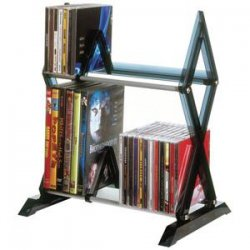 Atlantic - 64835193 - Mitsu 2 Tier Media Rack For 52 CDs Or 36 DVDs And Bluray In Smoke