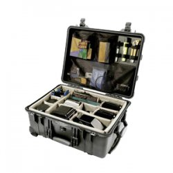 "Pelican - 1564 - Pelican 1560 Case with Padded Dividers - Internal Dimensions: 15.43"" Width x 9"" Depth x 20.37"" Height - External Dimensions: 17.9"" Width x 10.4"" Depth x 22.1"" Height - Double Throw Latch Closure - Steel, Polyurethane - Black - For"