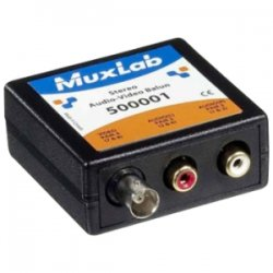 MuxLab - 500001 - MuxLab Stereo Audio-Video Balun - 1 Input Device - 1 Output Device - 2200 ft Range - 1 x Network (RJ-45) - Twisted Pair - Category 6