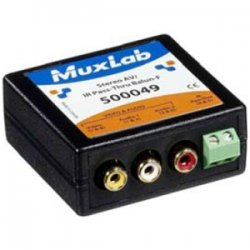 MuxLab - 500049 - MuxLab Stereo AV/IR Pass-Thru Balun - 1 Input Device - 1 Output Device - 2200 ft Range - 1 x Network (RJ-45) - Twisted Pair - Category 6