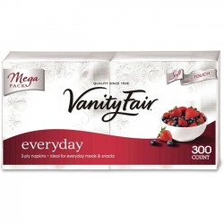 Georgia Pacific - 3550314 - Vanity Fair VanityFair Everyday Napkins - 2 Ply - White - Paper - Soft, Strong, Absorbent - For Breakfast, Dinner - 300 / Pack