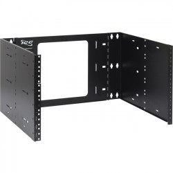 "ICC - ICCMSABRS6 - ICC EZ Fold Wall Mount Hinged Bracket, 15"" Deep 6 RMS - 6U Wide Wall Mountable for Patch Panel, LAN Switch - Black Powder Coat - Cold-rolled Steel (CRS) - 30 lb x Maximum Weight Capacity"