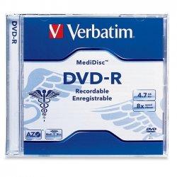 Verbatim / Smartdisk - 94905 - Verbatim MediDisc DVD-R 4.7GB 8X Thermal Printable Branded Surface - 1pk Jewel Case