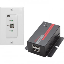 Hall Research - U22-160-DP - Hall Research USB 2.0 Over UTP Extender Decora Wall Plate with 2-Port Hub - 1 x Network (RJ-45) - 1 x USB - 164.04 ft Extended Range