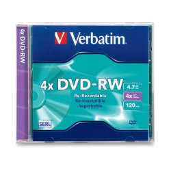 Verbatim / Smartdisk - 94836 - Verbatim DVD-RW 4.7GB 4X with Branded Surface - 1pk Slim Case - 4.7GB - 1 Pack