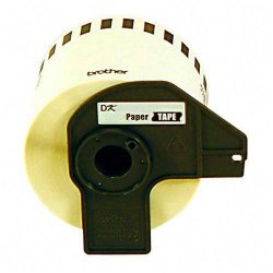 "Brother International - DK4605 - Brother P-Touch DK4605 Removable Paper Tape - 2.44"" Width x 100 ft Length - Direct Thermal - Yellow - 1 Roll"