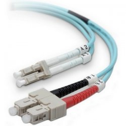 Belkin / Linksys - F2F402L7-01M-G - Belkin 1M Fiber Optic Cable: 10Gb Aqua Multimode LC/SC Duplex, 50/125 OM3 - Patch cable - LC multi-mode (M) to SC multi-mode (M) - 3.3 ft - fiber optic - 50 / 125 micron - aqua - B2B