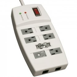 Tripp Lite - TLP66NETAA - Tripp Lite Surge Protector 120V RJ45 6 Outlet 6' Cord 1080 Joule TAA GSA - 6 x NEMA 5-15R - 1800 VA - 1080 J - 125 V AC Input - 125 V AC Output - TAA Compliant