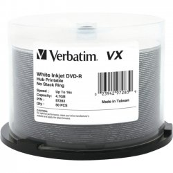 Verbatim / Smartdisk - 97283 - Verbatim DVD-R 4.7GB 16X VX White Inkjet Printable, Hub Printable - 50pk Spindle - 120mm - Yes - Inkjet Printable - 2 Hour Maximum Recording Time