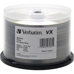 Verbatim / Smartdisk - 97281 - Verbatim DVD-R 4.7GB 16X VX Shiny Silver Silk Screen Printable - 50pk Spindle - 120mm - 2 Hour Maximum Recording Time