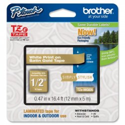 Brother International - TZEMQ835 - Brother TZeMQ835 - White on satin gold - Roll (0.5 in x 16.4 ft) 1 roll(s) laminated tape - for P-Touch PT-3600, D210, D400, D450, D800, H110, P300, P900, P950, P-Touch EDGE PT-P750