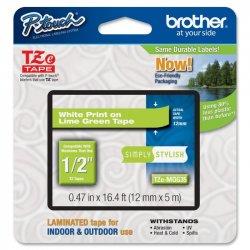 Brother International - TZEMQG35 - Brother TZeMQG35 - Matte laminated tape - white on lime green - Roll (0.5 in x 16.4 ft) 1 roll(s) - for P-Touch GL-H100, H105, PT-1290, 3600, D400, D600, H101, H110, P750, P-Touch EDGE PT-P750