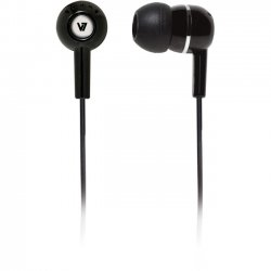V7 - HA100-2NP - V7 HA100 Earphone - Stereo - Black - Mini-phone - Wired - 32 Ohm - 20 Hz 20 kHz - Earbud - Binaural - Open - 3.94 ft Cable